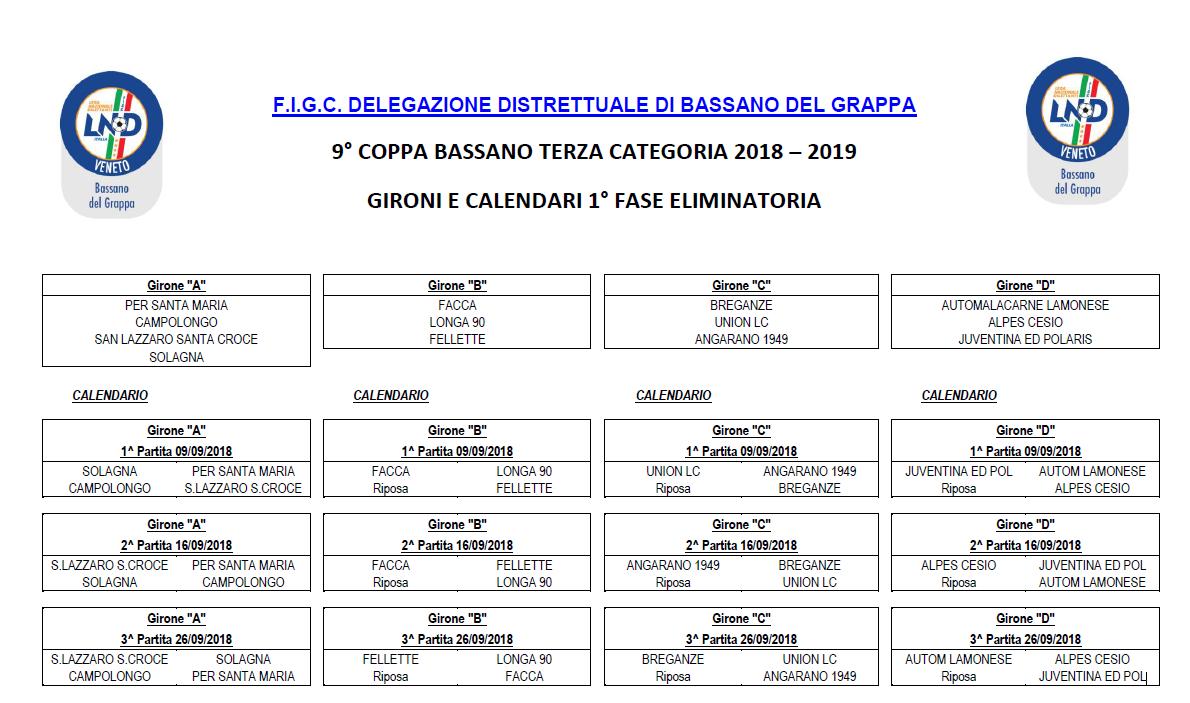 Calendario Terza Categoria.Terza Categoria Svelato Il Calendario Della Coppa Di