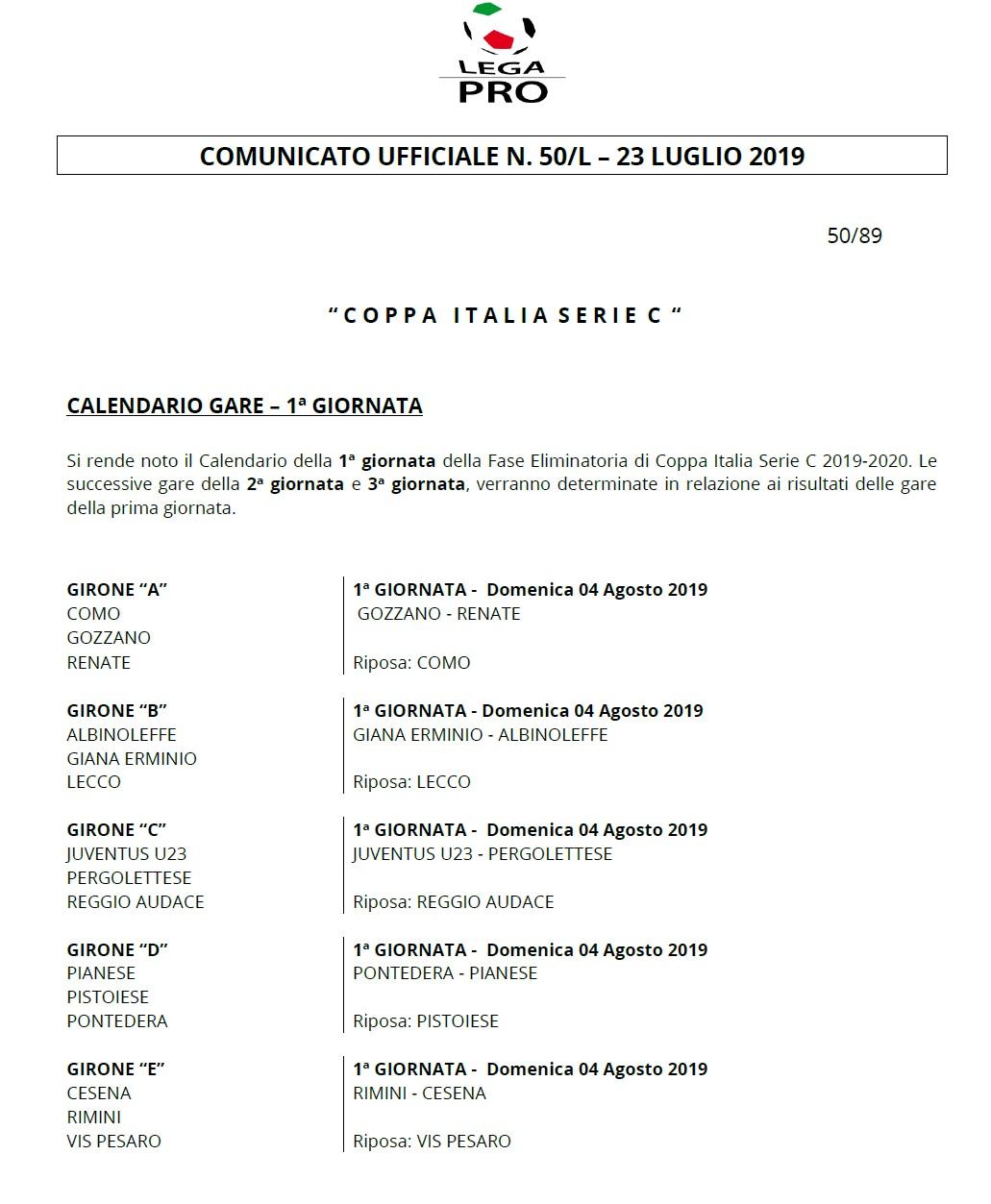 Calendario Coppa Italia Serie C.Calcio Lecco 1912 Sara L 11 Agosto L Esordio In Coppa