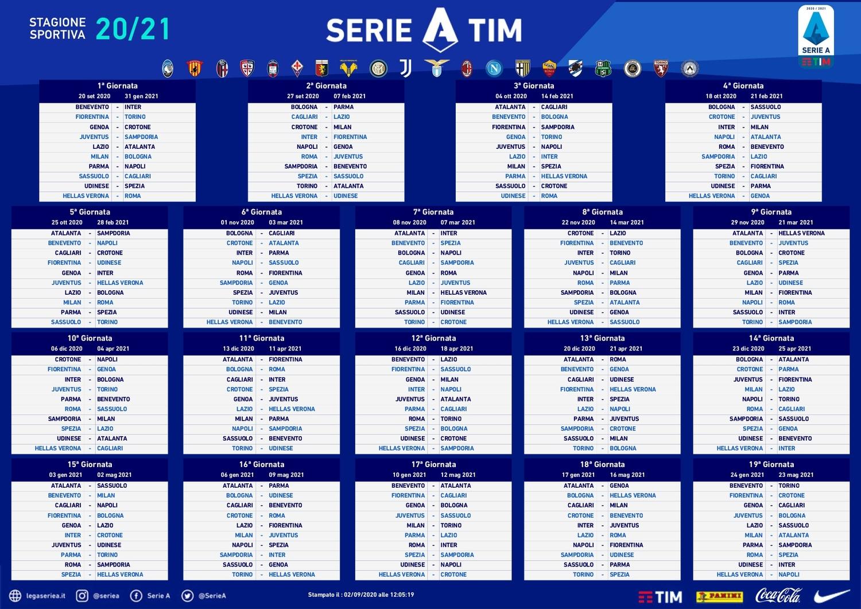 Serie A. E' finalmente ufficiale il calendario della prossima